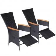 Rozkładane krzesła z poduszkami, 2 szt., polirattan, czarne
