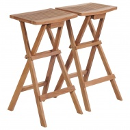 Składane stołki barowe, 2 szt., lite drewno tekowe