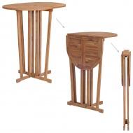 Składany stolik barowy z drewna tekowego, 100x65x105 cm