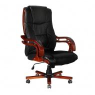 Skórzany fotel biurowy z wysokim oparciem