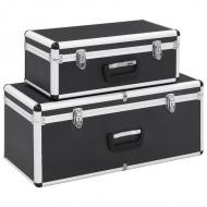 Skrzynie do przechowywania, 2 szt., czarne, aluminiowe