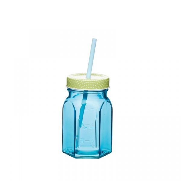 Słoik z nakrętką i słomką 250 ml Kitchen Craft Coolmovers niebieski CMWGLSJAR_BL