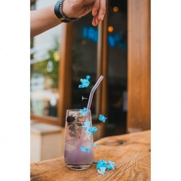 Słomki szklane różowe zakrzywione 23cm zestaw 6 sztuk ze szczoteczką 26636