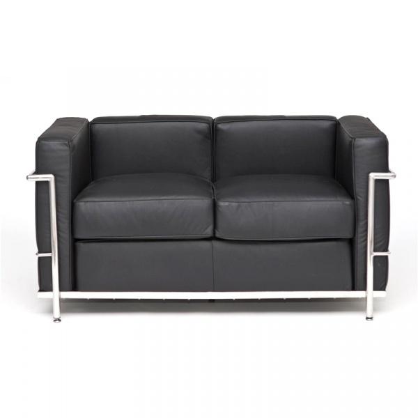 Sofa 2-osobowa Kubik czarna skóra TP DK-24986
