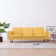 Sofa 3-osobowa, tapicerowana tkaniną, żółta