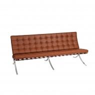 Sofa BA3 inspirowana Barcelona D2.Design jasny brąz skóra TP