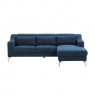 Sofa narożna tapicerowana ciemnoniebieska GLOSLI