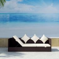 Sofa ogrodowa z poduszkami, polirattan, brązowa