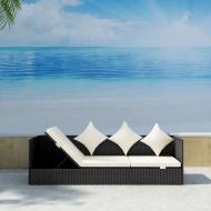 Sofa ogrodowa z poduszkami, polirattan, czarna
