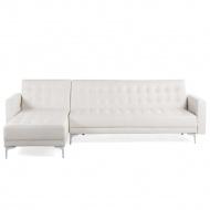 Sofa prawostronna biała skóra ekologiczna rozkładana ABERDEEN