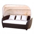 Sofa rattanowa z baldachimem i poduszkami AKbud wenge-beż LN-027