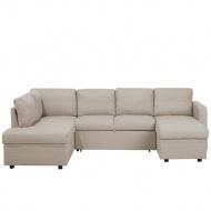 Sofa rozkładana podkowa tapicerowana beżowa KARRABO