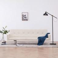 Sofa rozkładana z podłokietnikami, kremowa, poliester