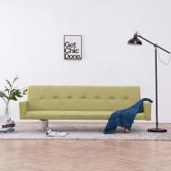 Sofa rozkładana z podłokietnikami, zielona, poliester