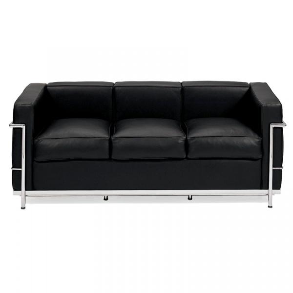 Sofa trzyosobowa Kubik czarna skóra TP DK-24989