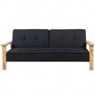 Sofa z funkcją spania tapicerowana czarna TJORN