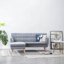 Sofa z leżanką, obita tkaniną, 171,5x138x81,5 cm, jasnoszara