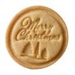 Stempel drewniany do ciastek Merry Christmas Birkmann Owls bordowy 340 176