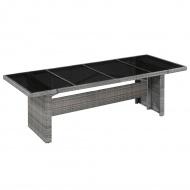 Stół jadalniany do ogrodu, polirattan i szkło, 240x90x74 cm