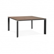 Stół Kokoon Design Efyra 140x140 cm brązowy nogi czarne