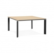 Stół Kokoon Design Efyra 140x140 cm jasnobrązowy nogi czarne
