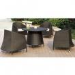 Stół ogrodowy i 4 fotele z poduszkami AKbud wenge-beż LN-081