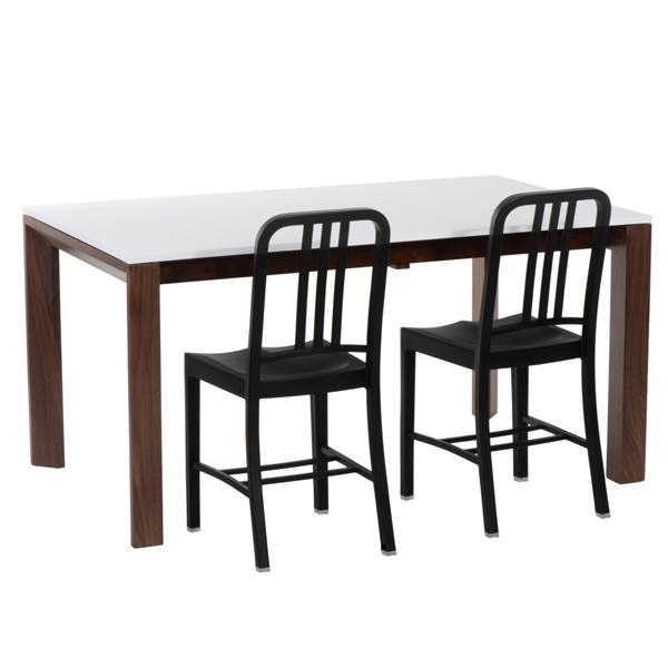 Stół rozkładany Camello 150/200 biały mat, nogi orzech amerykański DK-24490