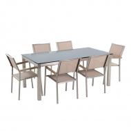 Stół szklany czarny - 180 cm - z 6 beżowymi krzesłami - GROSSETO BLmeble