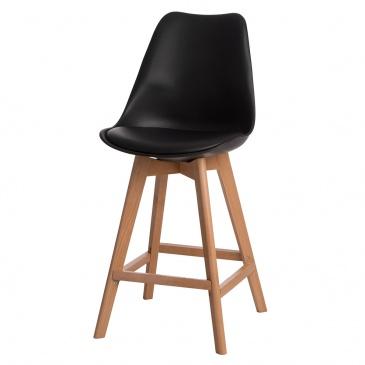 Krzesło barowe Norden wood low PP czarne