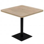 Stolik bistro z MDF na stalowej podstawie, 80x80x75 cm, dębowy
