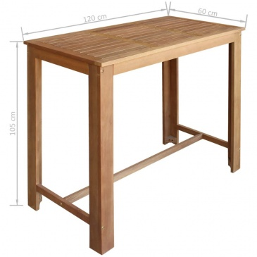 Stolik I Stołki Barowe 5 Elementów Lite Drewno Akacjowe