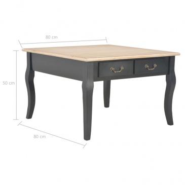 Stolik kawowy, czarny, 80x80x50 cm, drewniany