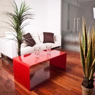 Stolik szklany King Home Priam A 10 mm czerwony