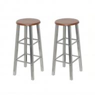 Stołki barowe z metalu, siedzisko z MDF, 2 szt.