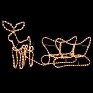 Świąteczna ozdoba, renifer z saniami, 110 x 24 x 47 cm