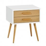 Szafka nocna z szufladami 50x40x55cm King Home Nature biała/dąb