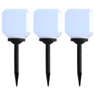 Sześcienne lampy solarne na zewnątrz, 3 szt., LED, 20 cm, białe