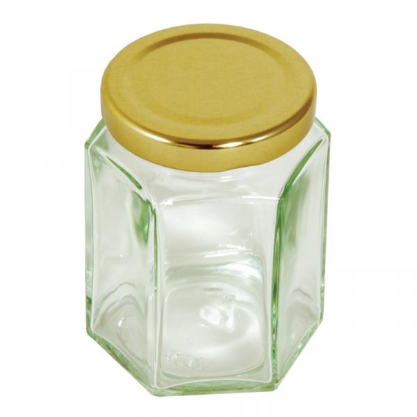Sześciokątny słoik ze złotą pokrywką 228 g Tala 10A04152