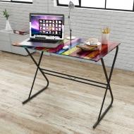 Szklane biurko z tęczowym wzorem