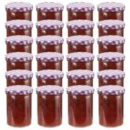 Szklane słoiki, biało-fioletowe pokrywki, 24 szt., 400 ml