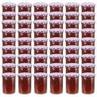 Szklane słoiki, biało-fioletowe pokrywki, 48 szt., 400 ml