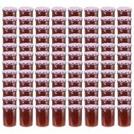 Szklane słoiki, biało-fioletowe pokrywki, 96 szt., 400 ml