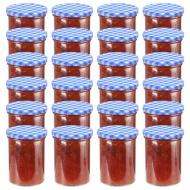 Szklane słoiki, biało-niebieskie pokrywki, 24 szt., 400 ml