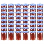 Szklane słoiki, biało-niebieskie pokrywki, 48 szt., 400 ml