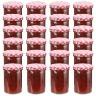 Szklane słoiki na dżem, biało-czerwone pokrywki, 24 szt, 400 ml