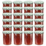 Szklane słoiki na dżem, biało-zielone pokrywki, 24 szt., 400 ml