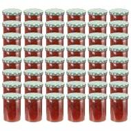 Szklane słoiki na dżem, biało-zielone pokrywki, 48 szt., 400 ml
