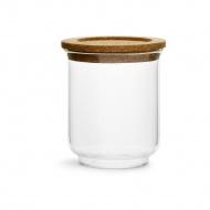 szklany pojemnik z korkową pokrywką, śred. 11,5 x 14 cm