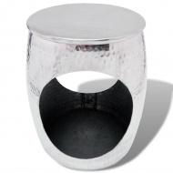 Taboret/Stolik boczny w kształcie beczki, aluminium srebrne
