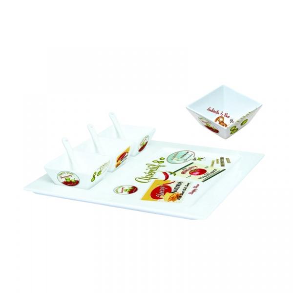 Taca porcelanowa z miseczkami i łyżeczkami Nuova R2S Vintage 064 VHCA